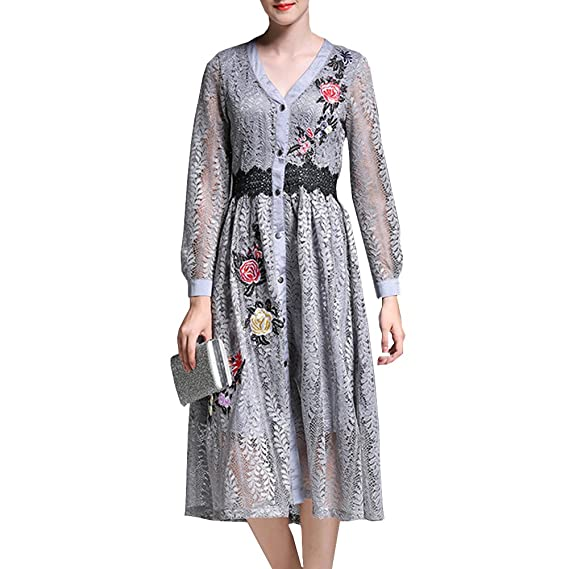 dae47c914910 E-girl YL38506 Women Floral Long Sleeve Midi Hollow A-Line Cocktail Party Lace  Dress: Amazon.co.uk: Clothing