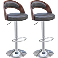 vidaXL 2pcs Bar Stool Chair Black/White Leather Padded Gas Lift Kitchen Cafe