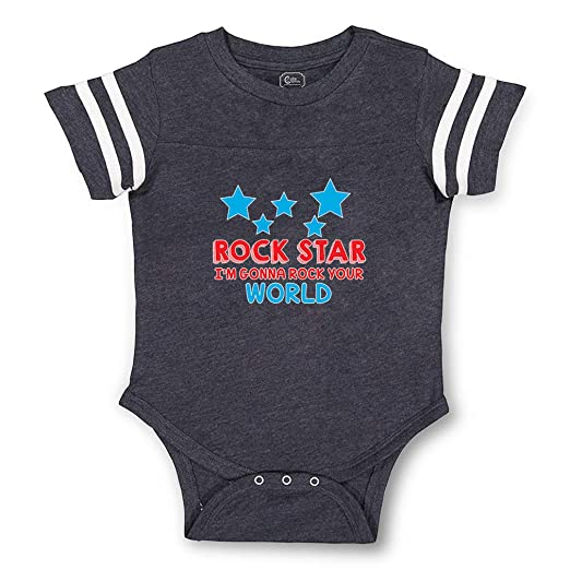 Amazon.com: Rock Star Im Gonna Rock Your World Boys-Girls Cotton Baby Football Bodysuit: Clothing