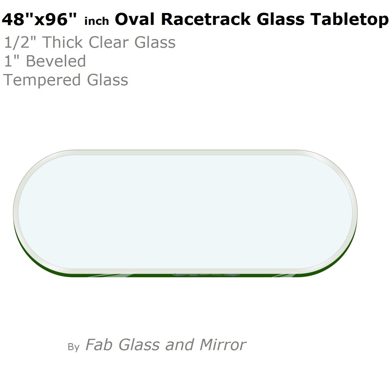 "48"" x 96""  Racetrack Oval Glass Table Top"