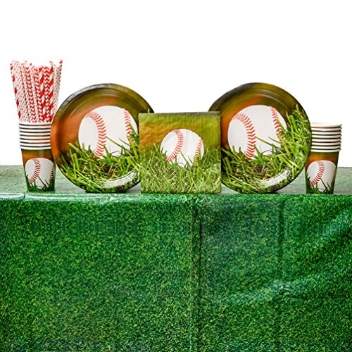 (Sports Fanatic Baseball Birthday Party Supplies Pack for 16 Guests | Straws, 16 Dinner Plates, 16 Luncheon Napkins, 16 Cups, and Table Cover | Perfect Sports Party Supplies and Party Decorations)
