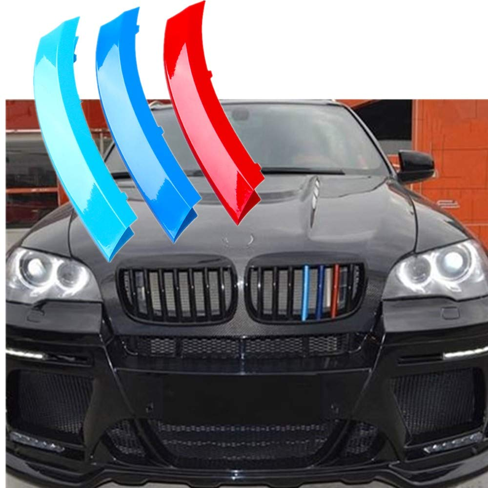 TOPGRIL Exact Fit////M-Colored Stripe Grille Insert Decoration Trims Sport Grille Insert Trim Strips For 2020-up BMW F48 X1 LCI Accessories Kidney Grill 7-Beam ONLY