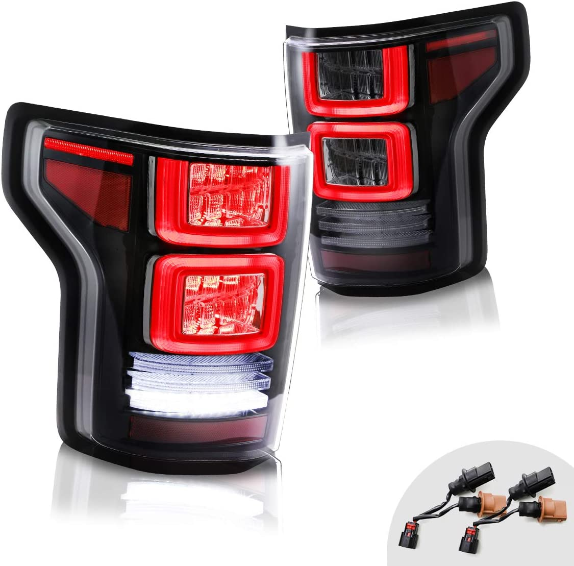 MOSTPLUS Full LED Tail Lights for Ford F-150 F150 2015 2016 2017 Rear Lamp Assembly Smoke Tinted