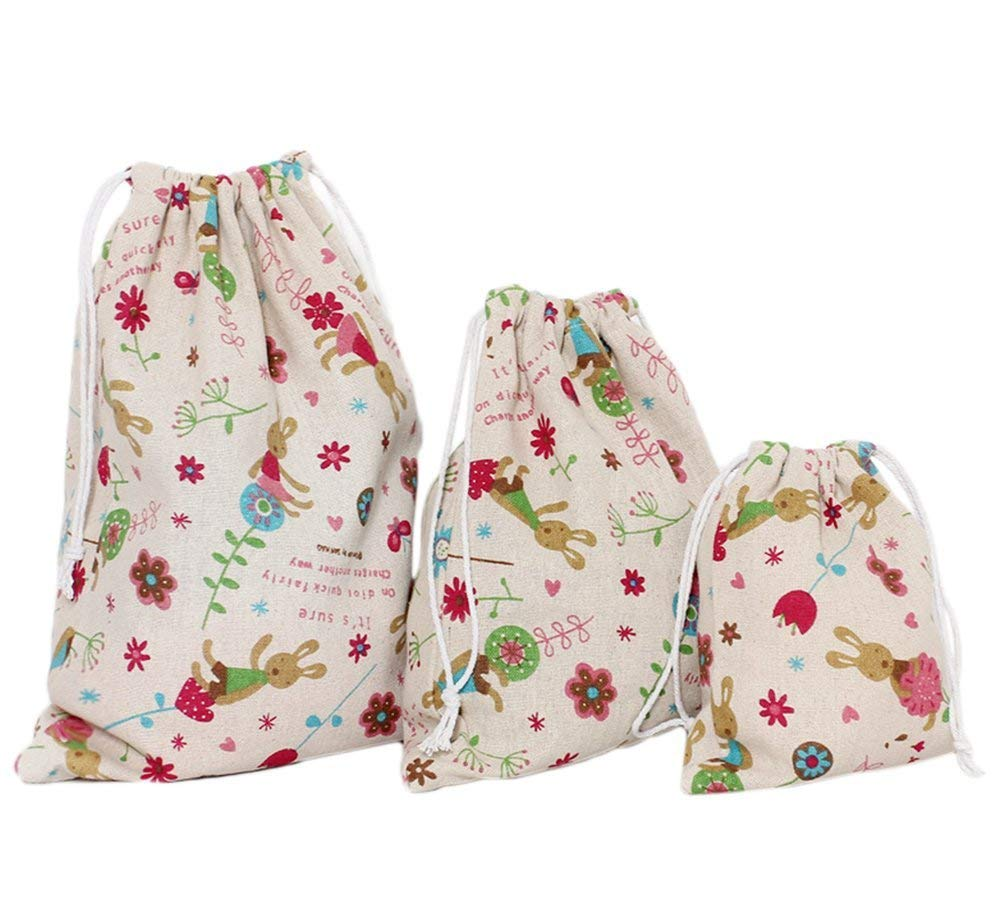 Small+Medium+Large Durable and Useful Yevison 3 Pcs Cotton Drawstring Storage Bags Rabbit Pattern Beam Port Pouch Travel Tote Gift Candy Bags Jewelry Stuff Bag Pocket
