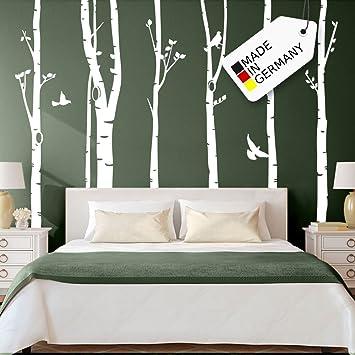 Grandora Wandtattoo XXL Birkenstämme Vögel I weiß (BxH) 267 x 250 cm I  Bäume Schlafzimmer Wohnzimmer Sticker Aufkleber Wandaufkleber Wandsticker  W5187