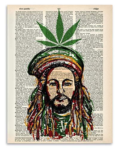(Upcycled Dictionary Art - Marijuana and Reggae - 8.5x11 Unframed Dictionary Art - Great Inspiring Gift Under $20)