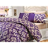 4 Pieces Queen Duvet Cover Set by LaModaHome, Vintage Ornamental Print Patterns Floral Design on Quilt Cover and Pillow Cases for Hotels, 100% Cotton Ranforce Fabric Bedding Set, Purple Cream