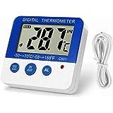 LXSZRPH LCD Digital Aquarium Thermometer Fish Tank Water Thermometer Aquarium Thermometer with LED Alarm Indicator Highest/Lowest Temperature Alarm