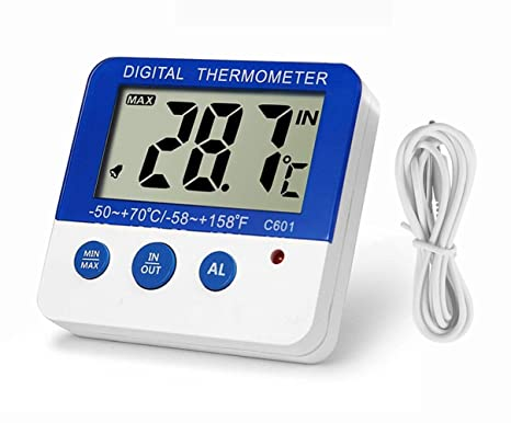 Fridge Freezer Thermometer Max/Min Memory LXSZRPH High & Low Temperature Alarms Settings with LED Indicator Digital Refrigeration Thermometer with ...