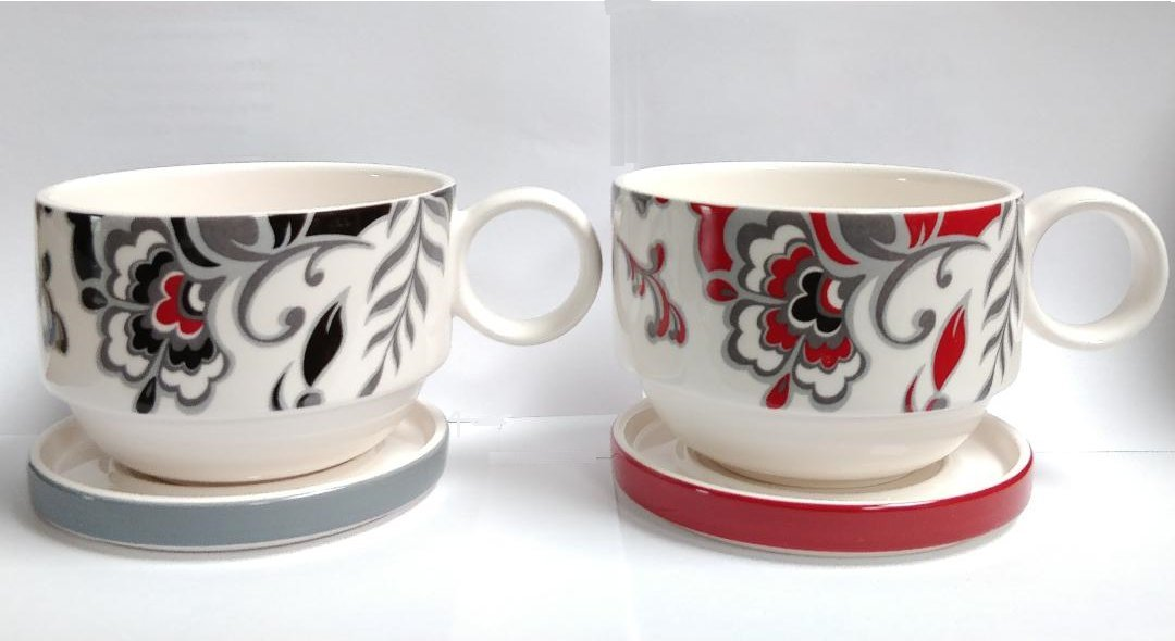TAYOHYA GIANT MUGS CERAMIC SOUP-CEREAL BOWLS WITH HANDLES & COASTER SAUCERS. 2 PACK