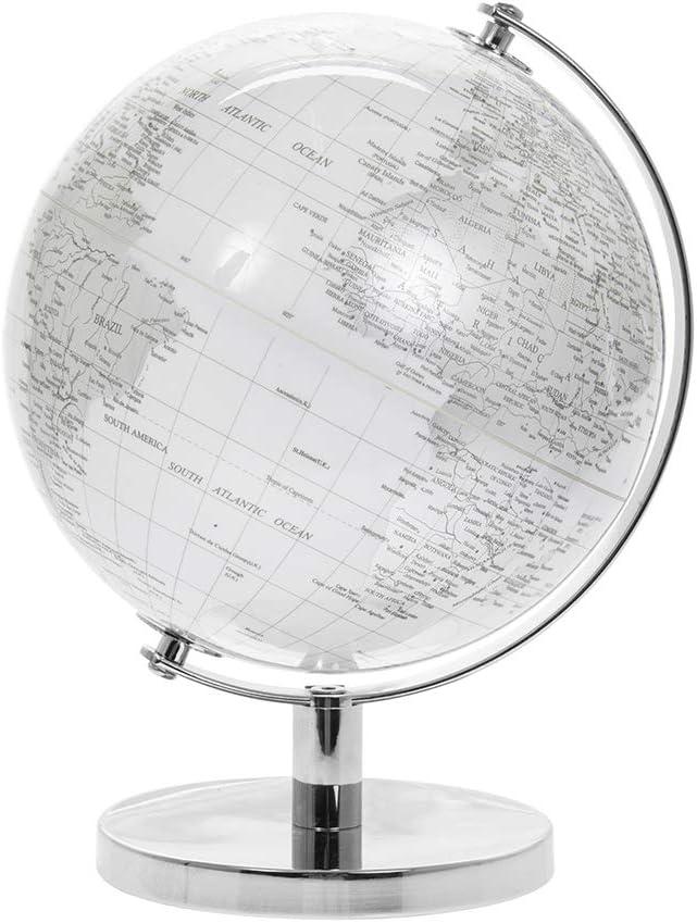 Lesser & Pavey Globe terrestre Rotatif Vintage argenté et Blanc avec Support en métal pour Votre Bureau/Bureau, argenté, 27 cm