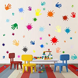 Primary Colors Wall Decals for Kids Room Colorful Paint Splash Handprints Wall Art Removable Playroom Nursery Wall Decor Stickers