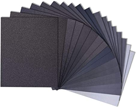 Wet Dry Sandpaper 120-3000 Grit Assortment Abrasive Sanding Paper 36Pcs//Set