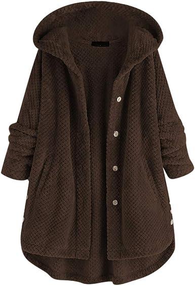 Veste Polaire Femme Grande Taille à Capuche Manche Longue Hiver Chaud Blouson Mode Chic Couleur Unie Polaire Peluche Moelleux Doux Manteau Casual