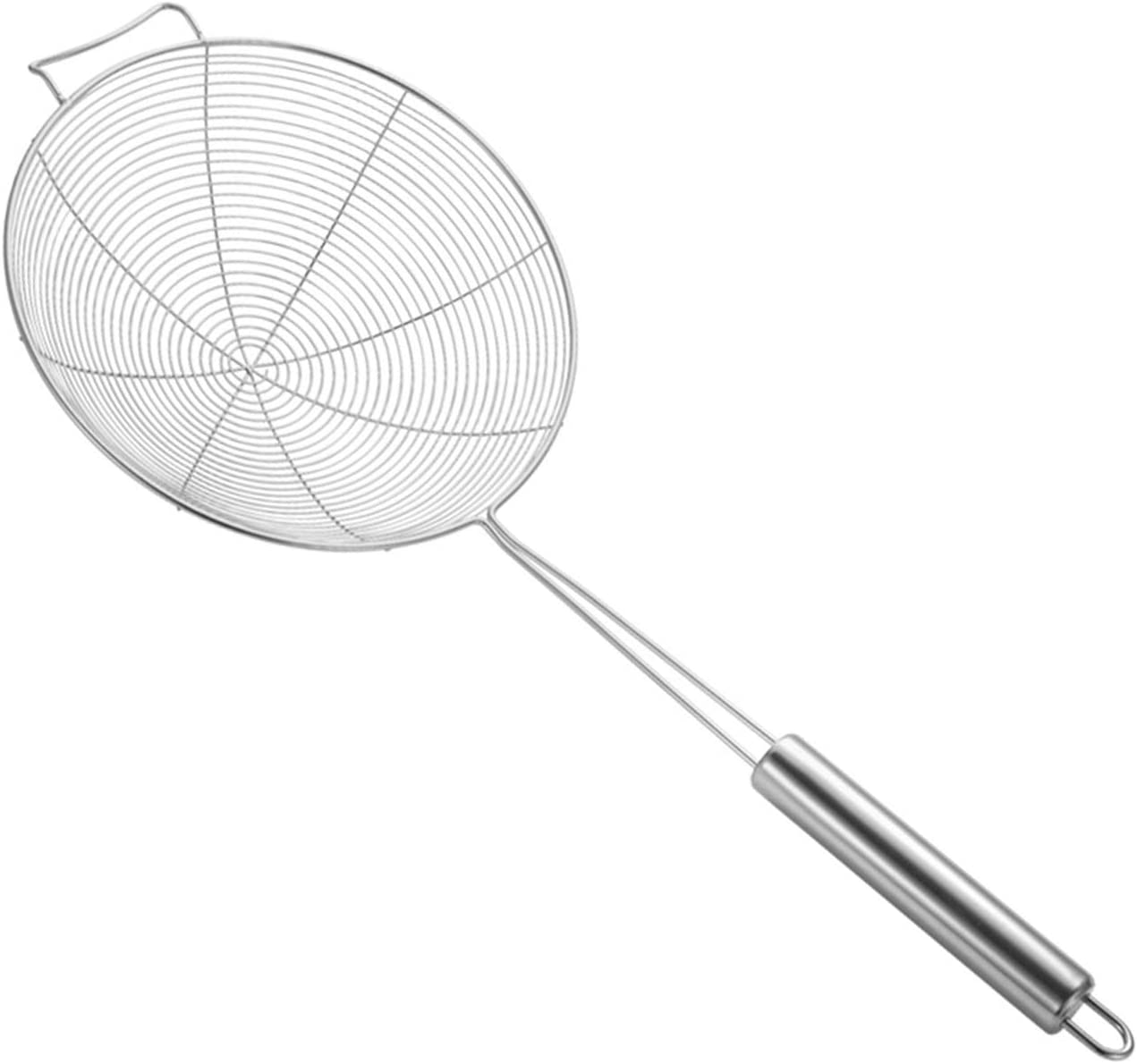 LOANPE 15-inch Stainless Steel Skimmer Spider Strainer,Strainer Skimmer Ladle with Spiral Mesh, Used to scoop up pasta, Noodle,vegetables hot pot Fried chicken wings French fries and other Fried food