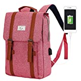 ACPBAGS Teimose Vintage Laptop Backpack for Women Men,School College Backpack with USB Charging Port Fashion Backpack Fits 15 inch Notebook(Red)