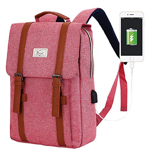 - ACPBAGS Teimose Vintage Laptop Backpack for Women Men,School College Backpack with USB Charging Port Fashion Backpack Fits 15 inch Notebook(Red)
