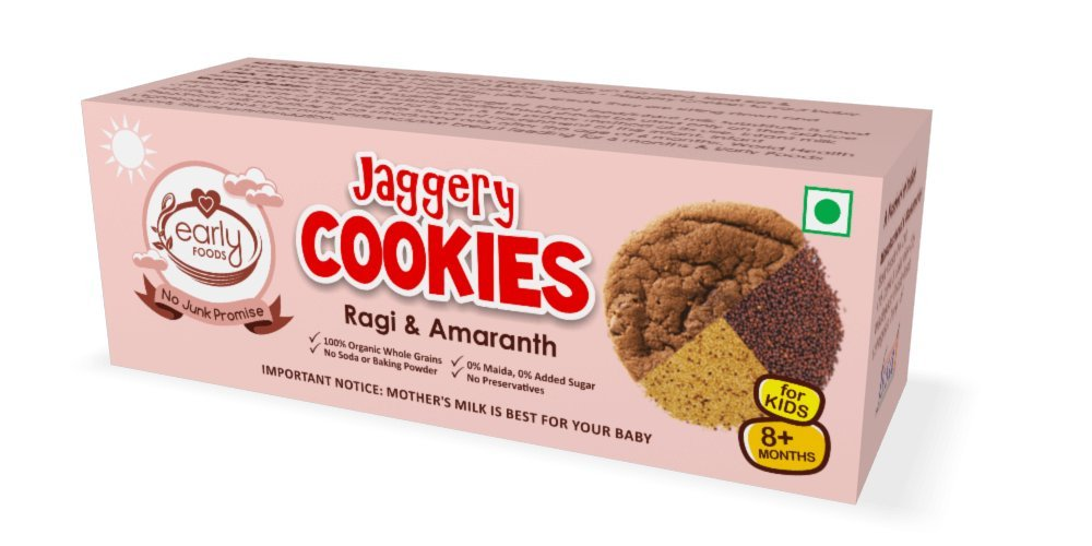Early Foods Organic Ragi & Amaranth Jaggery Cookies 150G 8+ Months by Early Foods
