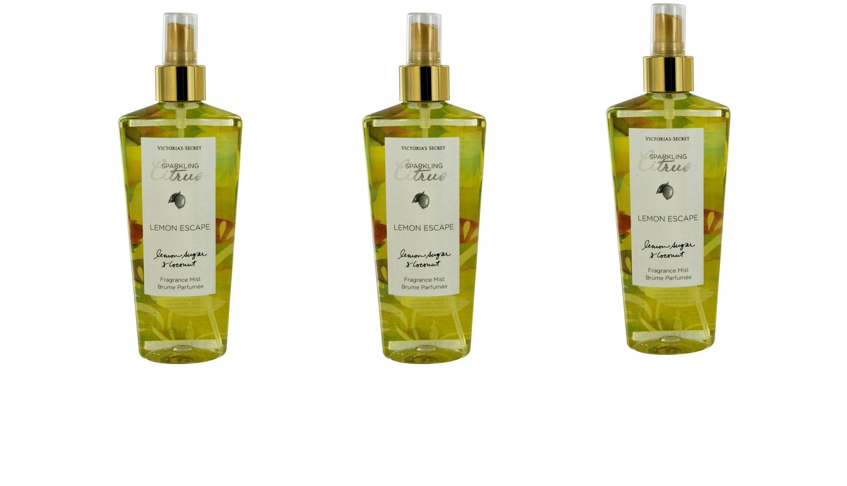 Lot of 3 Victoria's Secret Lemon Escape Mist 8.4 Ounce Each