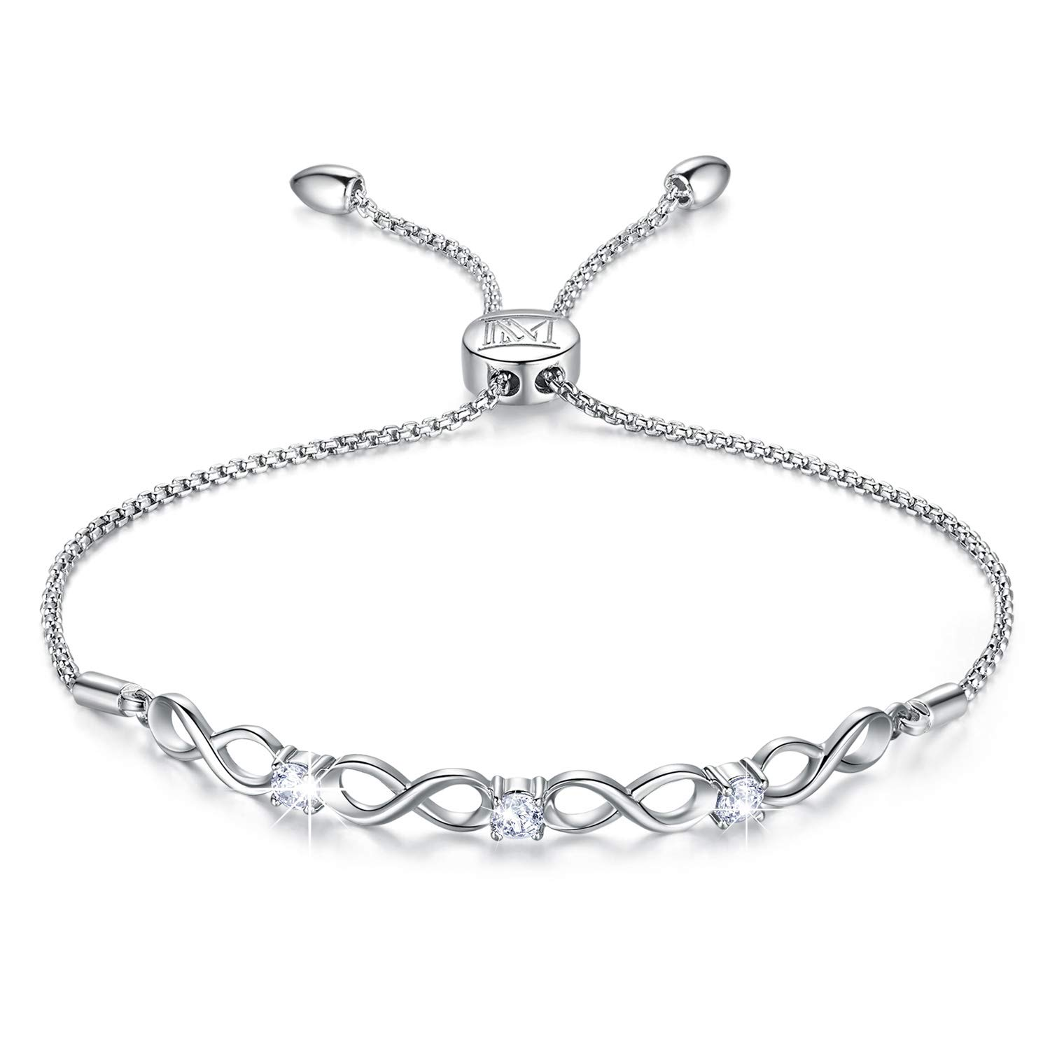 NINAMAID Womens 925 Sterling Silver Bracelet Jewelry Adjustable Women Cubic Zirconia Bolo Bracelet with Sparkling Round-Cut Zirconia in White Gold Plated by NINAMAID