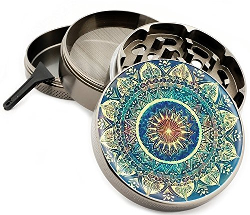 Blue Mandala 4 Piece Zinc Titanium Metal Herb Grinder 2.5″ Vintage Grinders Diamond Grind Design Coloring Book
