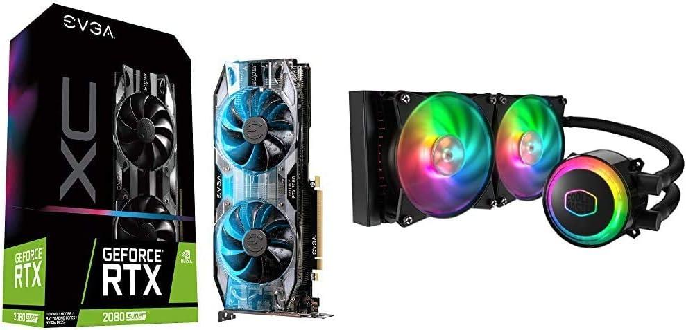 EVGA 08G-P4-3182-KR GeForce RTX 2080 Super XC Gaming & Cooler Master MasterLiquid ML240R Addressable RGB Close-Loop AIO CPU Liquid Cooler, 240 Radiator, Dual Chamber Pump, Dual MF120R Fans