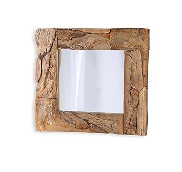 Levandeo Spiegel Treibholz 50x50cm Holz Braun Flurspiegel Unikat