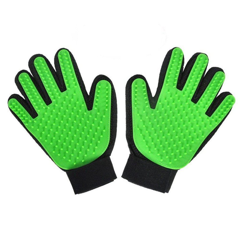 HMILYDYK Pet Grooming Glove Shedding Brush, Gentle Massage Pet Hair Remover Mitt Efficient Clean Bathing Perfect for Dogs,Cat,Horses (1 pair) GU1PAIRGOLVE-GREEN