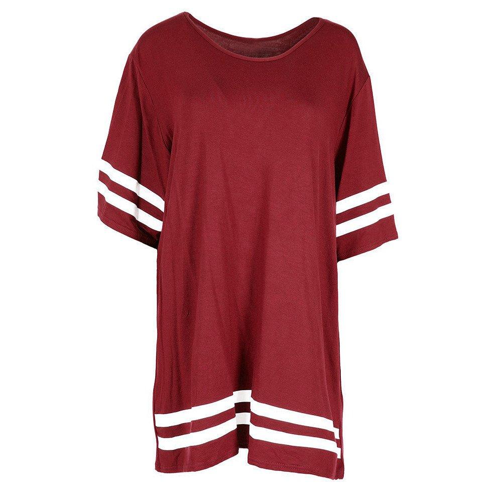 Nevera Women Tops Stripe Short Sleeve Round Neck T Shirt Ladies Pullover Blouse Wine Red