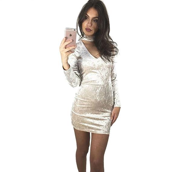 Dooxi Mujer Cuello V Manga Larga Vestido Cabestrillo Terciopelo Vestido de Fiesta Blanco S