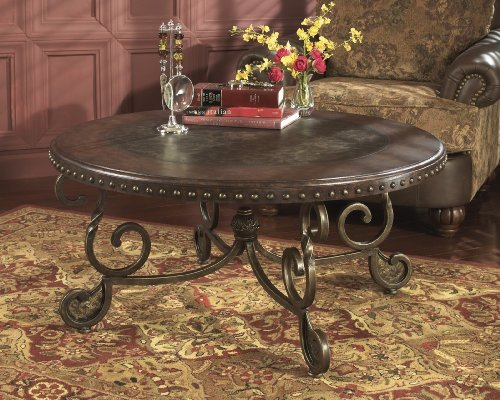 Raff Nailhead Round Coffee Cocktail Table with Twist Square Legs - Etched Coffee Table