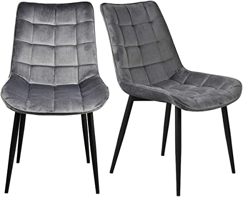 Kitchen Dining Chairs Set of 2 Velvet Leisure Side Chairs Grey Modern Dining Padded Chair