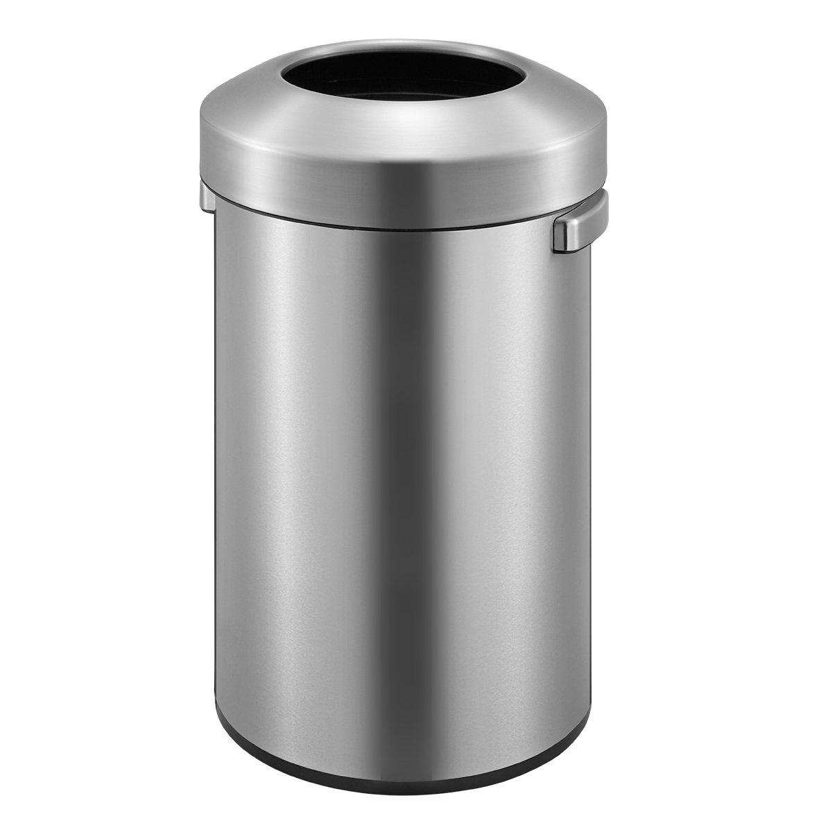 EKO EK9055-60L Urban Commercial Open Top Trash Can, Stainless Steel, 60 L by EKO