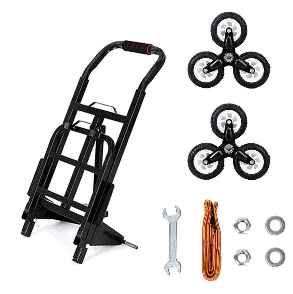 30 Inch Heavy Duty Hand Truck Portable Stair Climber Cart 440LBS Capacity for Upstairs Cargo Transportation,Black Rubber 3 Wheels /& Thickened Tube /& Anti-Scratching Mat
