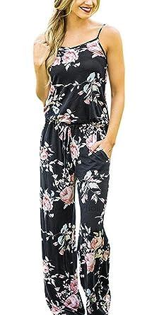 6ca94820039 Amazon.com  Womens Jumpsuit Romper Wide Leg Pants Floral Printed Spaghetti  Strap Jumper Pajamas  Clothing