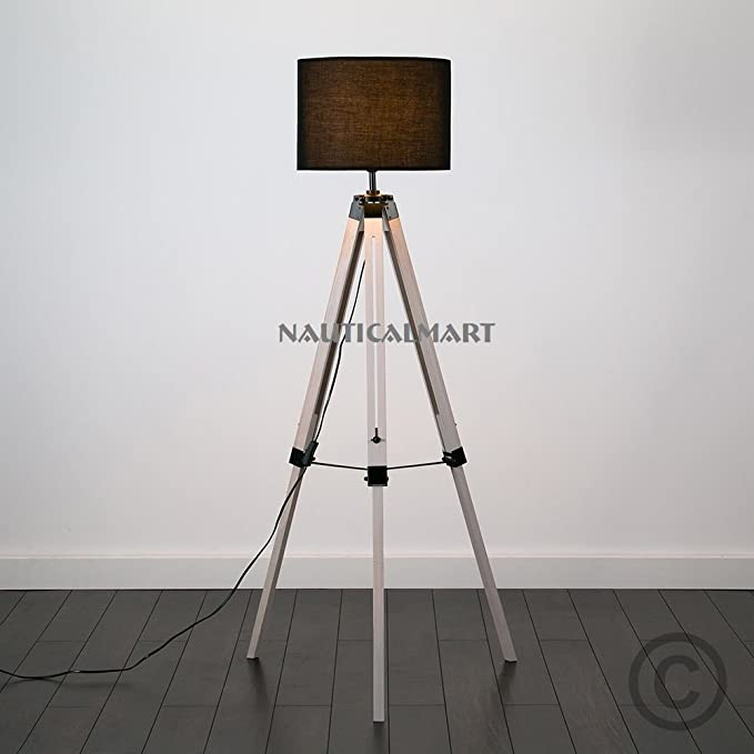 Vintage Decor Tripod Wood Floor Standing Standard Lamp By Nauticalmart