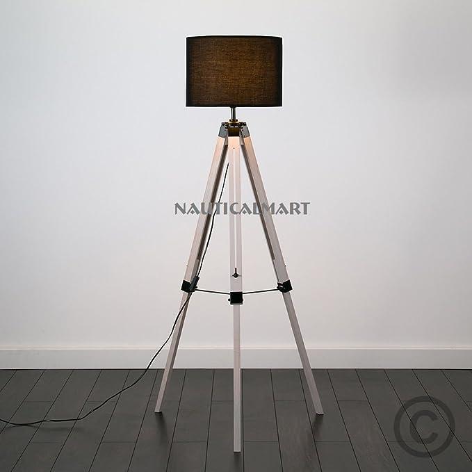 Vintage Decor Tripod Wood Floor Standing Standard Lamp By Nauticalmart