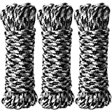 BONTIME All-Purpose Soft Cotton Rope - 32 Feet Length,1/3-Inch Diameter(Black & Grey & White,Pack of 3)
