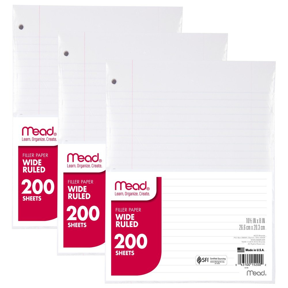 Mead Loose Leaf Paper, Filler Paper, Wide Ruled, 200 Sheets, 10-1/2'' x 8'', 3 Hole Punched, 3 Pack (73183)
