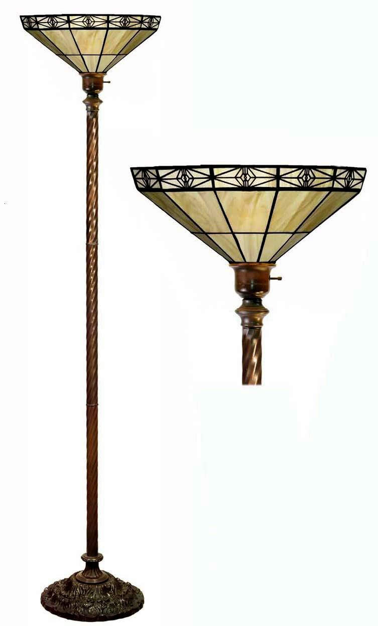 Tiffany-style Mission-style Off Yellow Torchiere - Floor Lamps ...