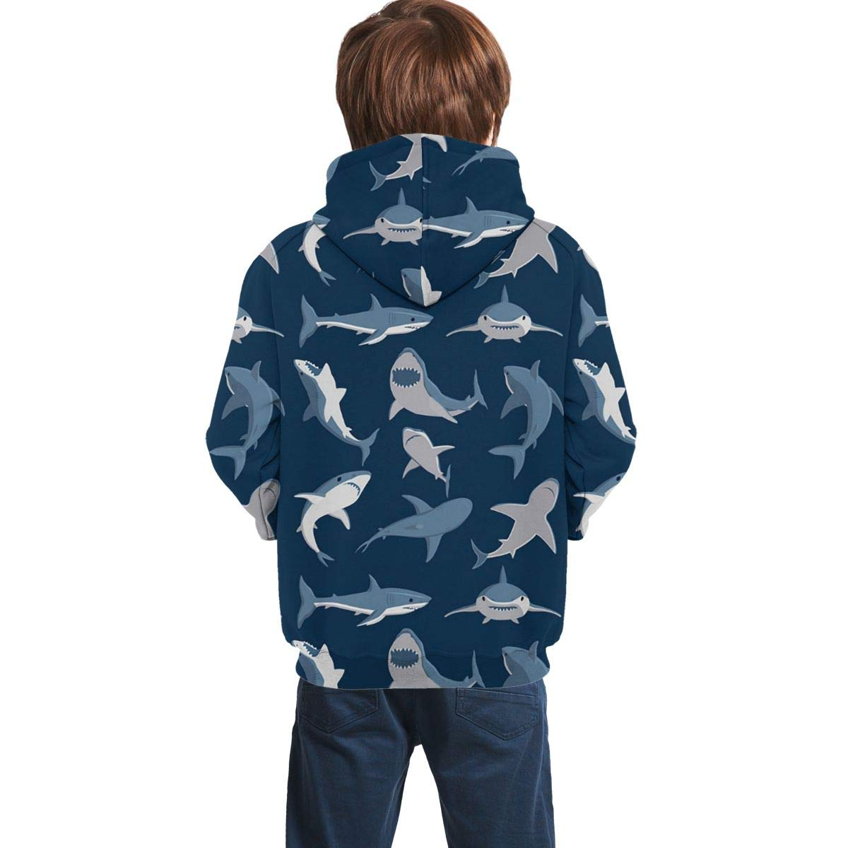 HengStore Ferocious Shark Boys Girls Full Print Athletic Hooded Sweatshirt Pullover with Pocket