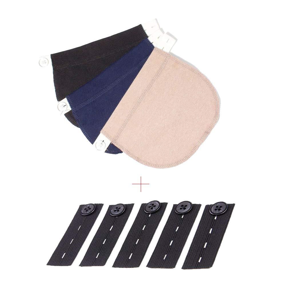 Extensores de Cintura Ajustables para Mujeres Embarazadas 8 Piezas Negro, Azul y Caqui