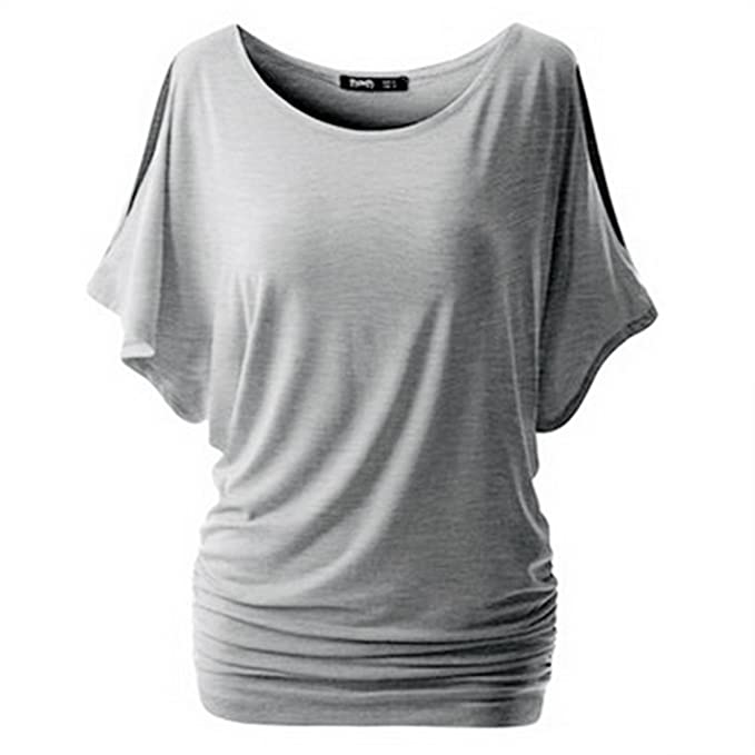 93915cbd0d403 Vertvie Women s T Shirt Short Sleeve Off Shoulder Tee Boat Neck Shirring  Dolman Drape Top Blouse
