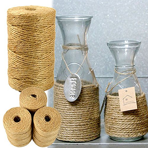 BaoST 100M Natural Jute Twine 2mm String Cord Wedding Decoration Crafts Jute Rope Packing String Gifts Wrapping, DIY Crafts, Festive Decoration, Bundling, Picture Display Brown