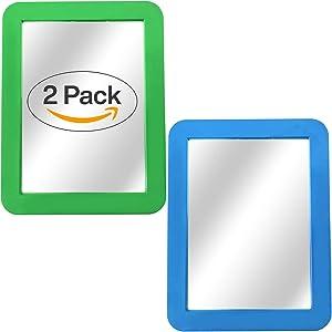 "Magnetic Mirror - 2-Pack Locker Mirror Boxgear - 5"" x 7""- for School Locker, Bathroom, Household Refrigerator, Locker Accessory, Workshop Toolbox or Office Cabinet, Green and Blue"