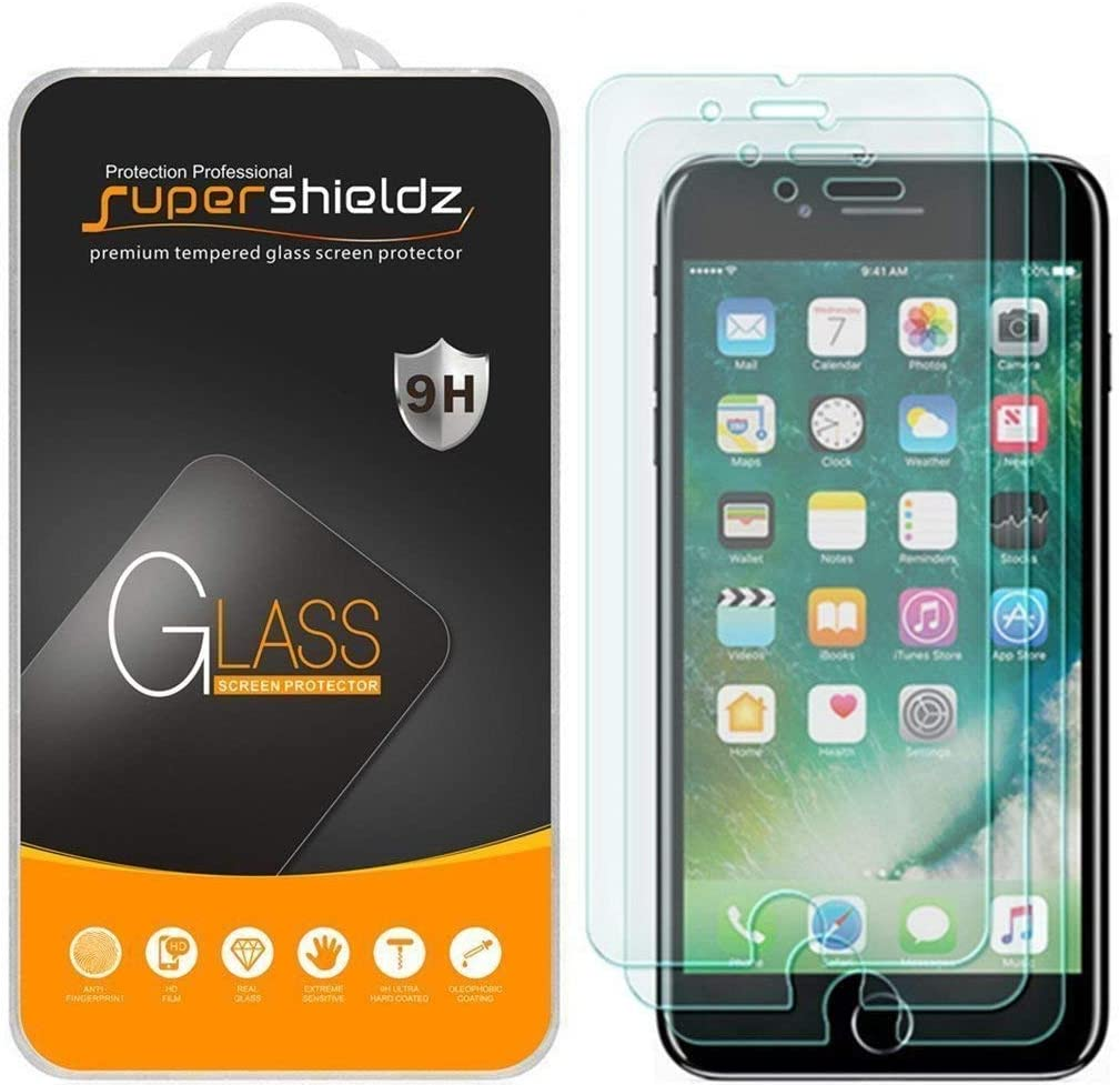 (3 Pack) Supershieldz for Apple iPhone 8 Plus and iPhone 7 Plus Tempered Glass Screen Protector, 0.33mm, Anti Scratch, Bubble Free