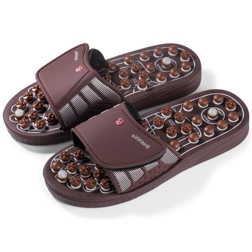 Avec points de pression en pierre de jade Pour homme et femme Pour massage de pieds Sandales de r/éflexologie Byriver