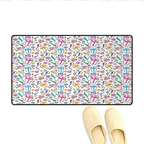 - Door-mat,Colorful Sketch of Balloons Flowers Lollipops Presents and Cakes Kids Art Print,Bathroom Mat for Tub Non Slip,Multicolor,Size:32