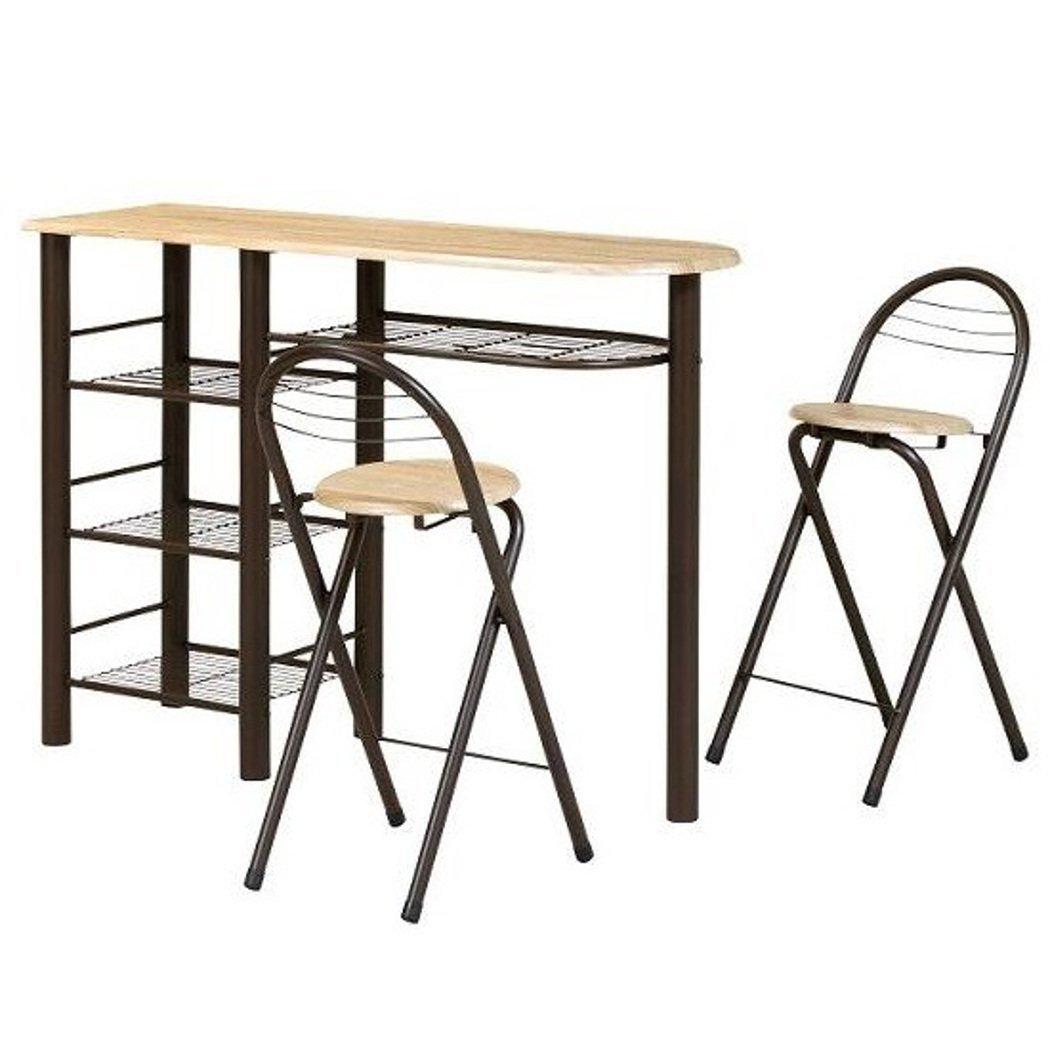 (シナップ)SINAPP カウンターテーブルセット テーブル チェア 3点 ブラウン B076C8DVQP
