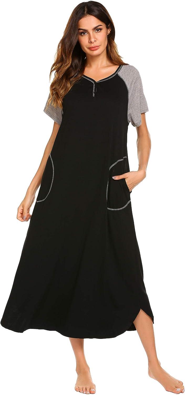 Ekouaer Nightgowns Womens Long Pajamas Nightdress V Neck Sleepwear Cotton Lounge